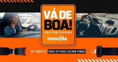 As 265 lojas e mais de 70 mil carros da Movida receberão os materiais da campanha Vá de Boa! Dirija com segurança